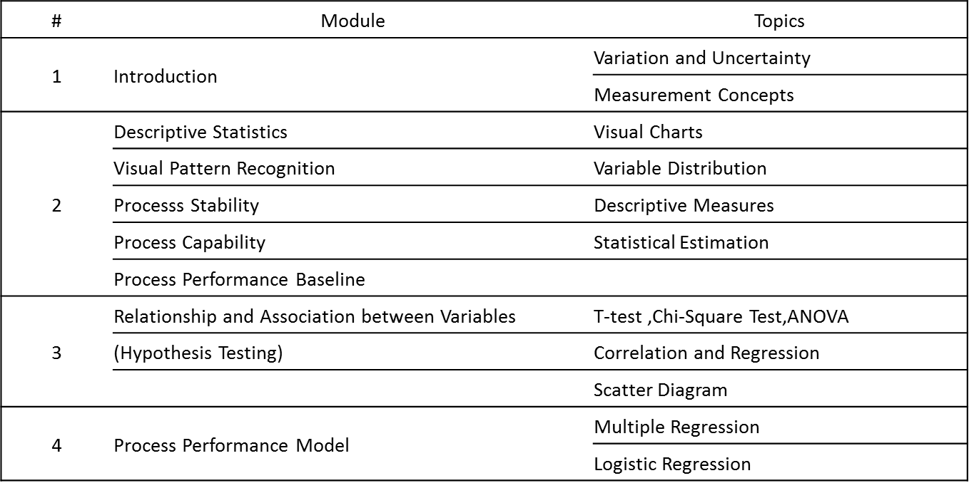 Statistics workshop course contents